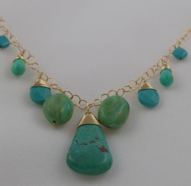 Custom Made Turquoise & Sky Opal Necklace