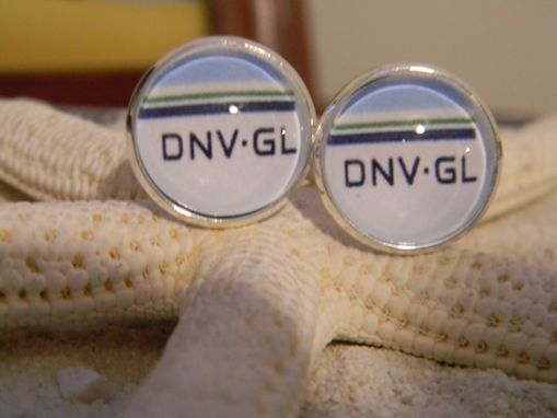 Custom Made Custom Company Logo Glass Bezel Cuff Links