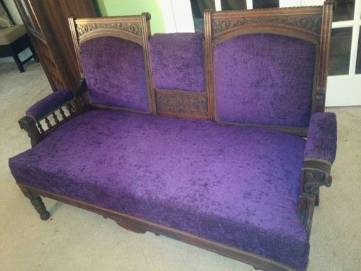 Custom Made Custom Refinished And Reupholstered Wooden Settee