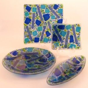 Custom Made Blue Geometry Fused Glass Dishes