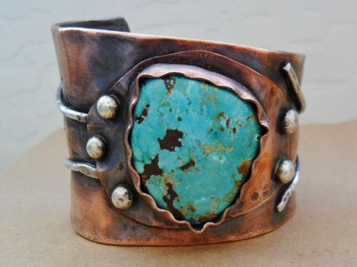 Custom Made Fox Mine Turquoise Copper And Sterling Silver Mens Or Womens Cuff Bracelet