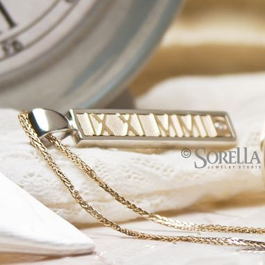 Custom Made Personalized Roman Numeral Pendant In Two Tone 14k Gold