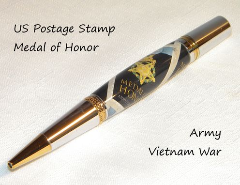 Custom Made Handcrafted Medal Of Honor Us Postage Stamp Twist Pen