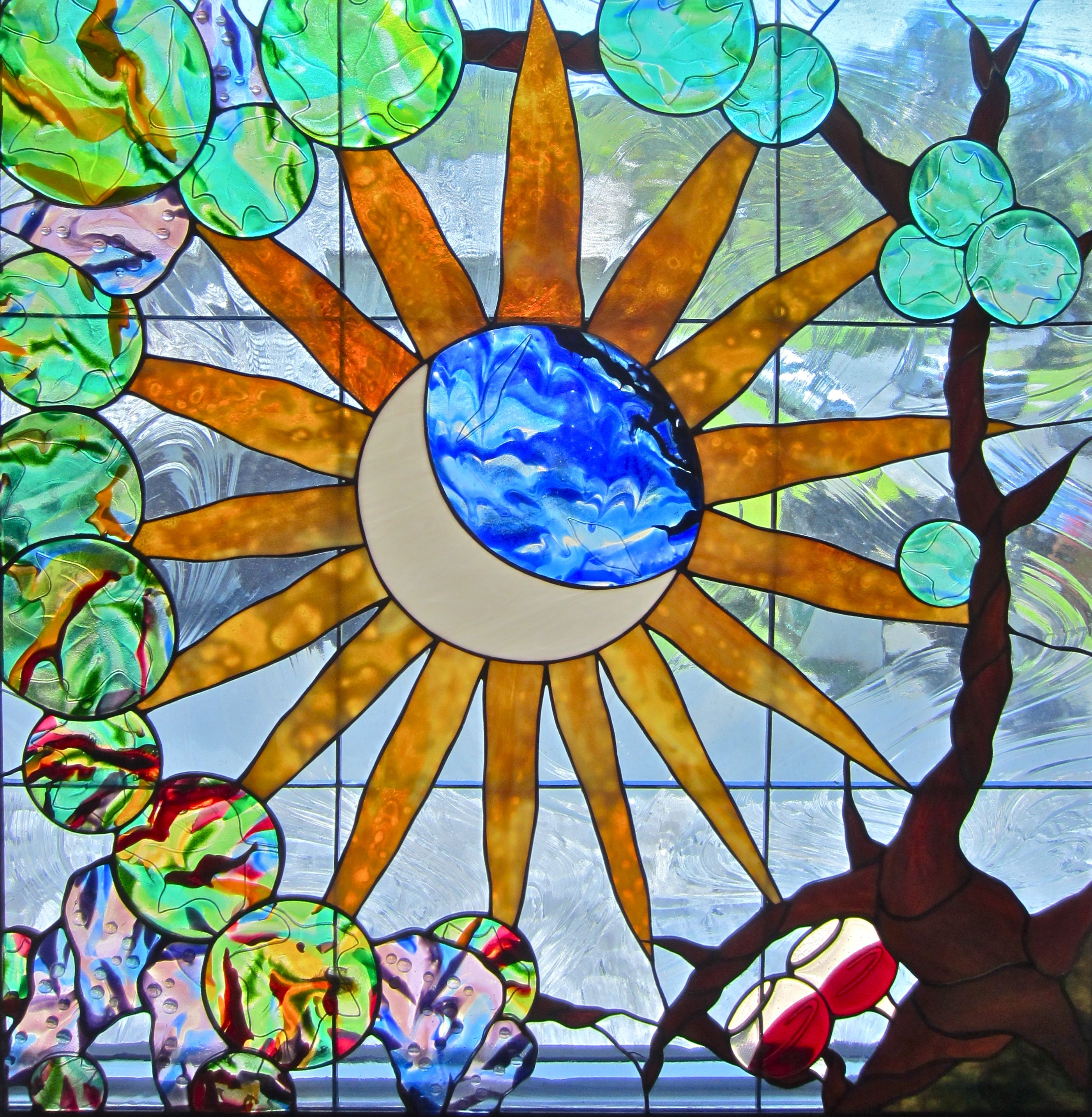 Handmade Stained Glass And Fused Glass Skylight With Wine
