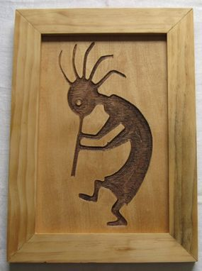 Custom Made Native American Art Kokopelli Symbol Handmade Wood Carving