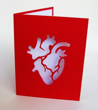 Custom Made Anatomical Heart Valentine Red & White Cut Paper Silhouette Art Greeting Card