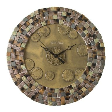 Custom Made Pangea Laurentia Porcelain Mosaic Wall Clock, Metal, Large, Contemporary, Silent Non Ticking