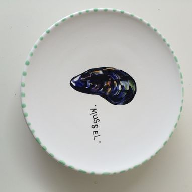Custom Made Sealife Salad Plate Set Of 5 Round Dishes