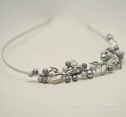 Custom Made Beaded Headband In Gray In Ivory With Vintage Jewelery Links, Women Hair Accessories