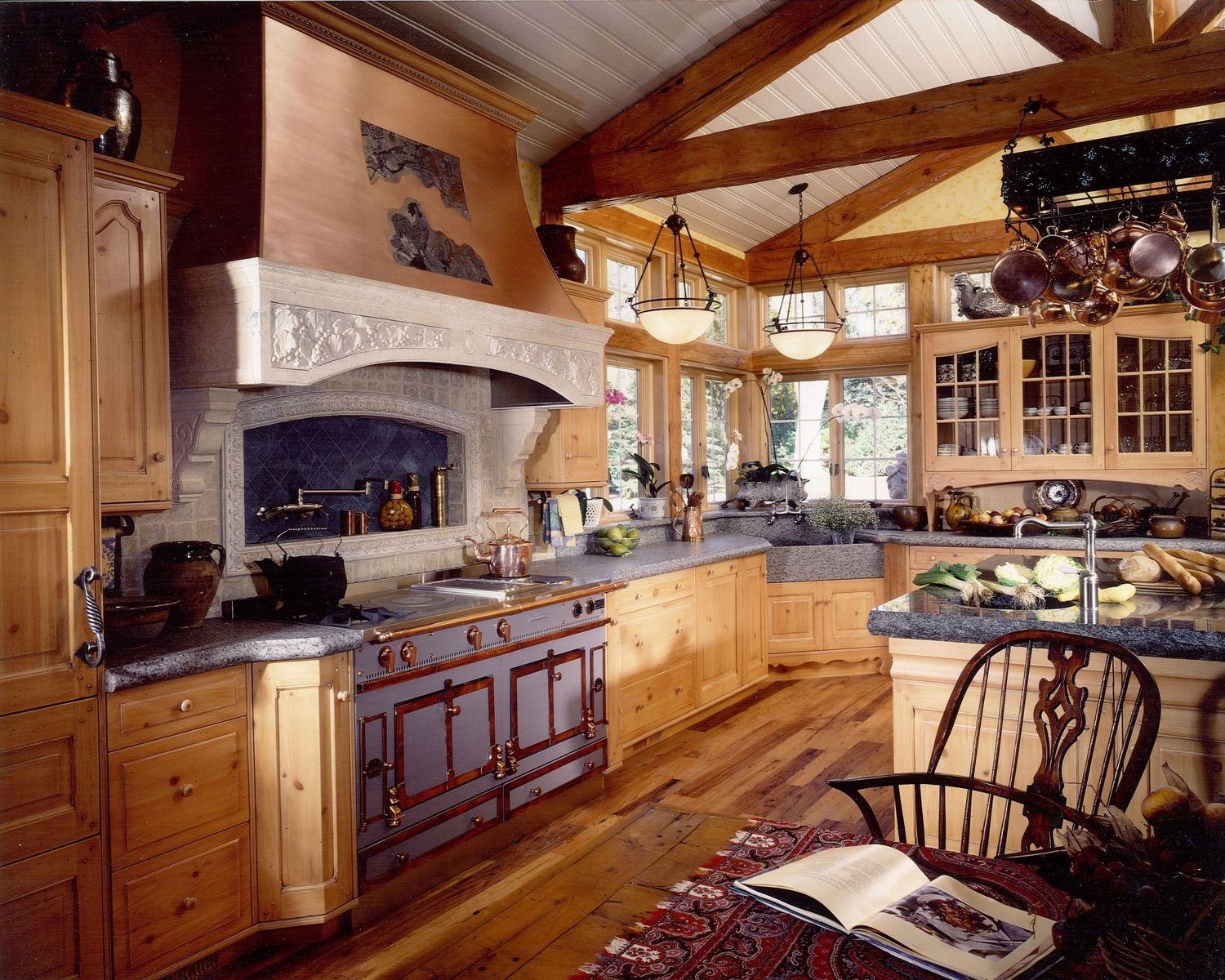 Handmade french country kitchen remodel of wood stone for Country kitchen designs