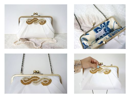 Custom Made Art Deco Duchess Satin Clutch Purse With Beaded Applique