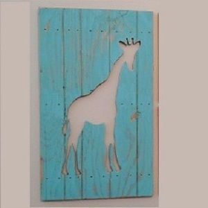 Hand Made Giraffe Wall Art Decor Cut Out Wood Sign By