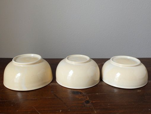 Custom Made Ivory Sencha Green Tea Small Cereal Ice Cream Bowls Wheel Thrown Stoneware Ceramic Pottery
