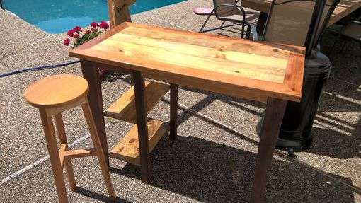 Custom Made Reclaimed Pine And Mahogany Mill Table W/Shelves