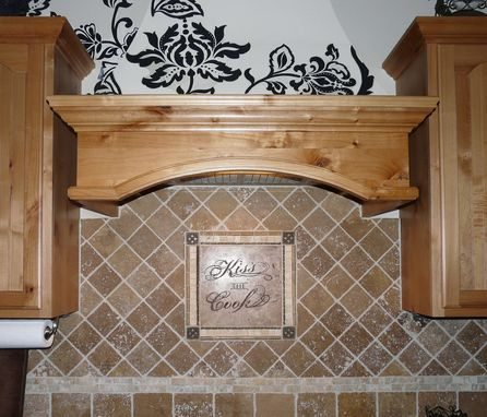 Laser Engraved Noce Travertine Tile Kitchen Backsplash Medallion Mosiac With Metal Accents