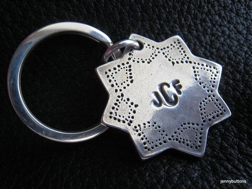 Custom Made Moorish Star Sterling Key Chain Monogrammed With Sterling Split Ring