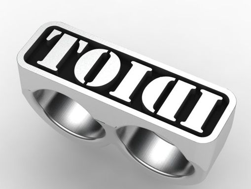 Custom Made Markham Ring In Silver With Raised Letters