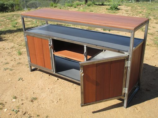 Custom Made Steel And Red Balau (Wood) Media Entertainment Console, Credenza