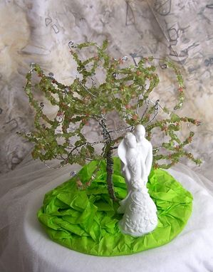 Custom Made Spring Wedding Cake Topper - Tree Of Life With White Porcelain Couple Figurine