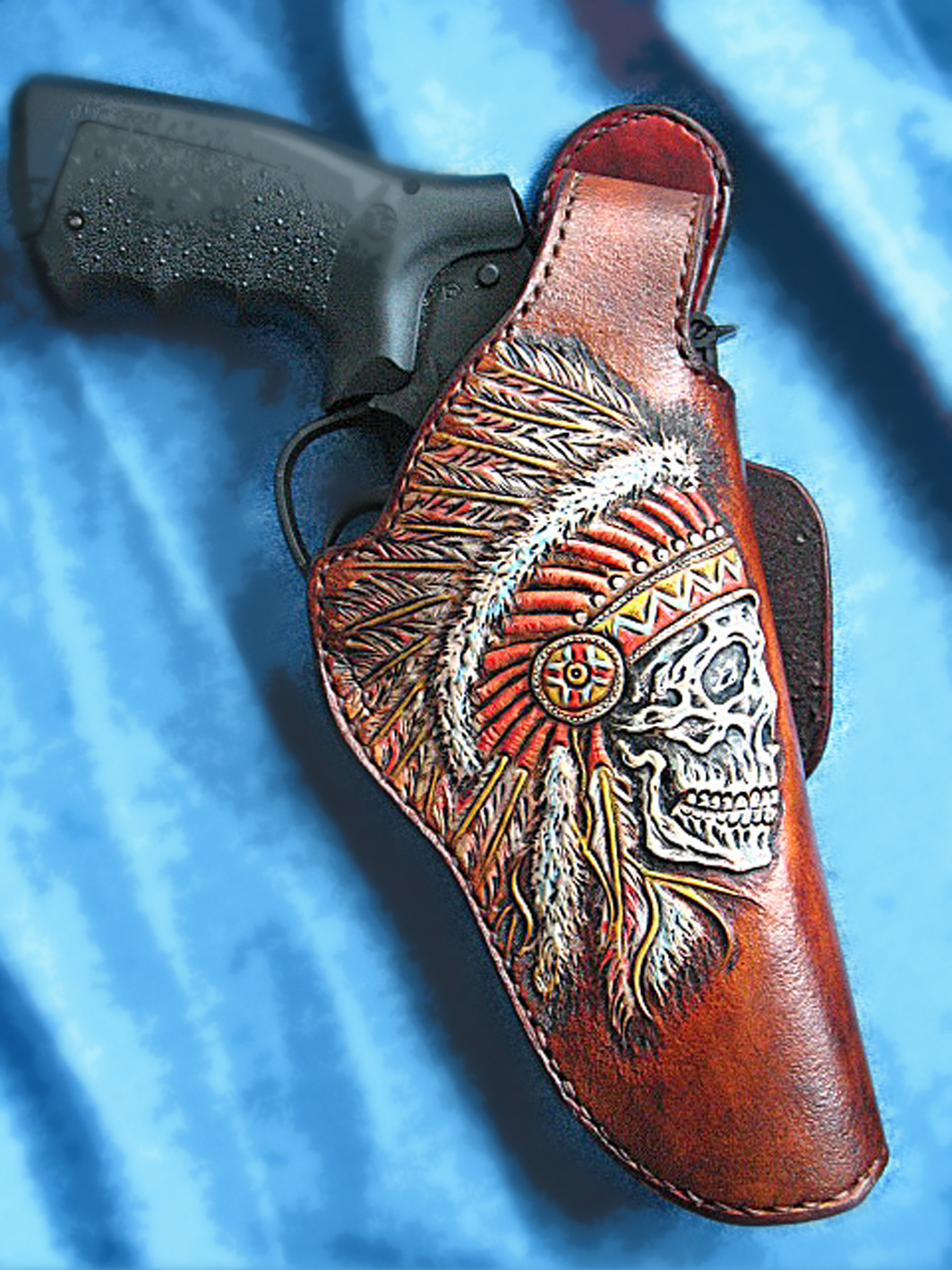 Buy A Handmade Tooled Leather Holster S Amp W Thumb Break Indian Skull Made To Order From Serge S