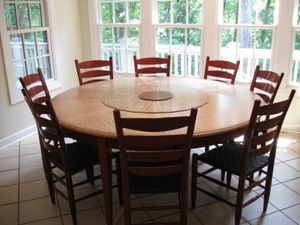 Custom Made Dining Table - Quilted Maple With Bubinga Inlay