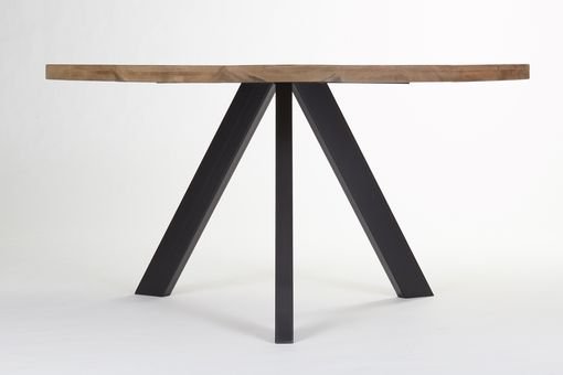 Custom Made Industrial Modern Dining Table, Tripod Steel Base