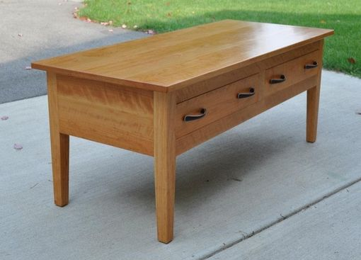 Custom Made Solid Cherry Coffee Table With Drawers