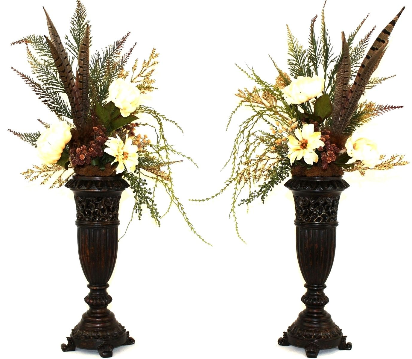 Hand made silk flower arrangement fireplace mantel decor for Floral centerpieces for dining room tables