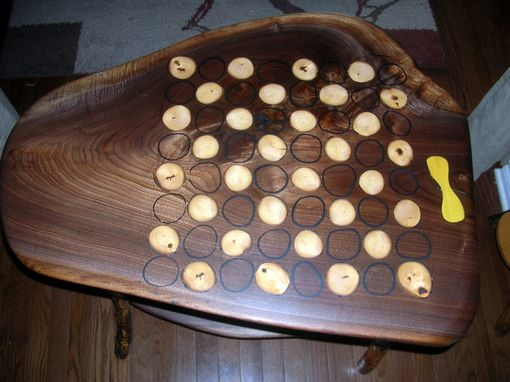 Custom Made Walnut Chess Table With Maple Inlays