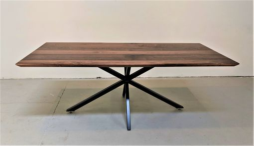Custom Made Solid Walnut Mid Century Modern Industrial Dining Table