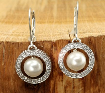 Custom Made Silver Pearl & Cz Drop Earrings