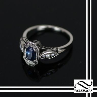 Hand Made Art Deco Sapphire And Pearl Engagement Ring By