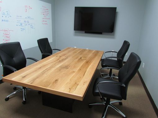 Custom Made White Oak Conference Table With Steel Base