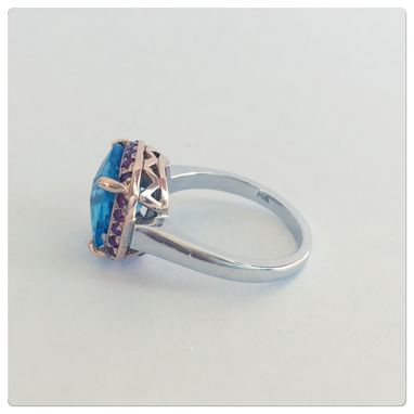 Custom Made Vintage Style 14k Womens White Gold And Rose Gold Pink Sapphire With Cushion Cut Blue Topaz Ring