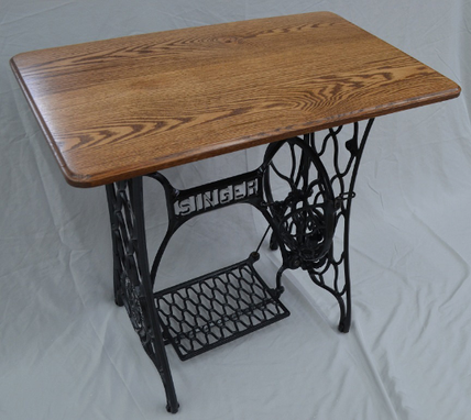Custom Made Vintage Singer Treadle Sewing Table With Hardwood Top