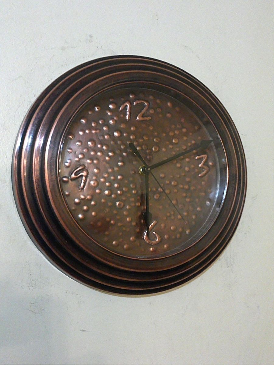 Custom Made Hand Hammered Patina Copper Wall Clock By Cu
