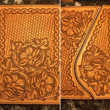 Custom Made Leather Notebook W/ Magnetic Closure - Handtooled