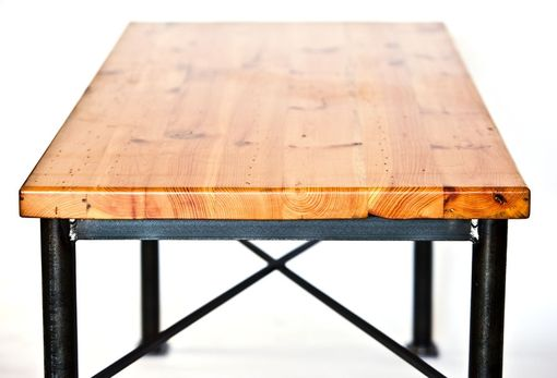 Custom Made Metal And Reclaimed Wood Dining Table