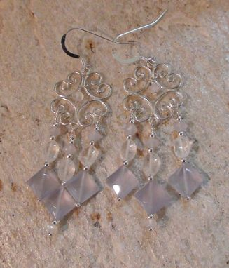 Custom Made Blue Chalcedony & Rainbow Moonstone Chandelier Earrings In Sterling Silver