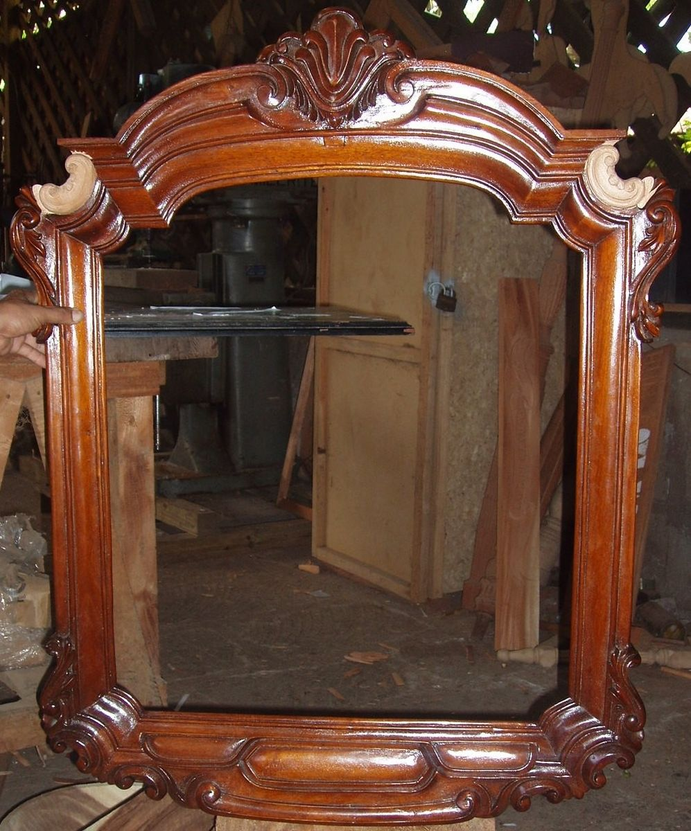 Custom made large hand carved mirror frame by liberty carvings inc