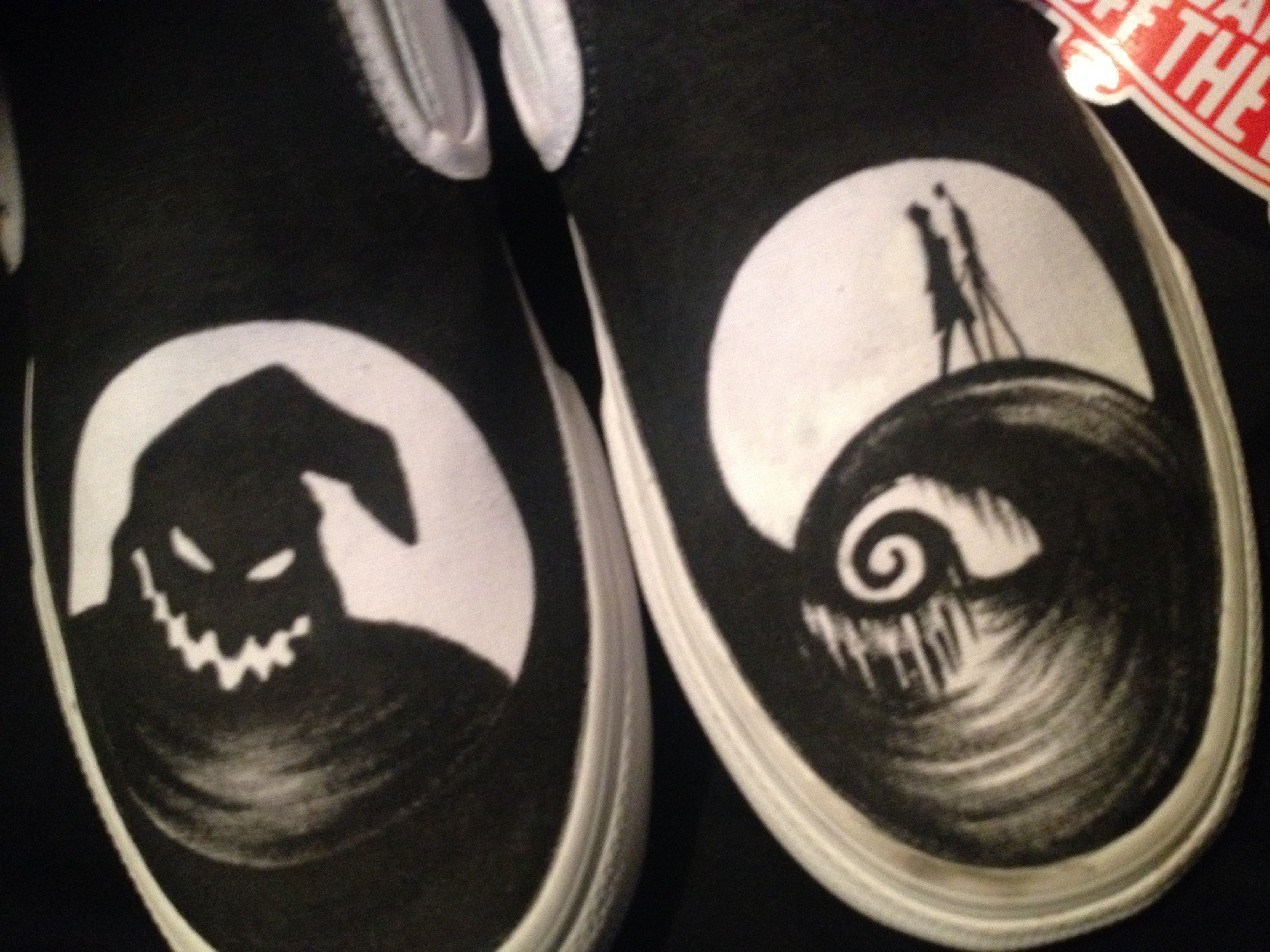 Buy Custom Hand Drawn Tim Burton Nightmare Before Christmas Shoes ...