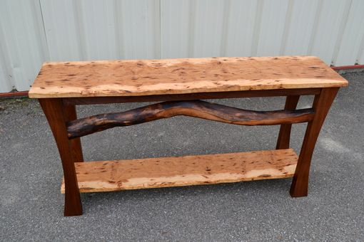 Custom Made Live Edge Hickory Sofa Table