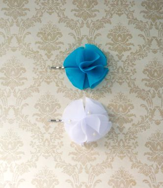 Custom Made Hair Pin In Teal Chiffon