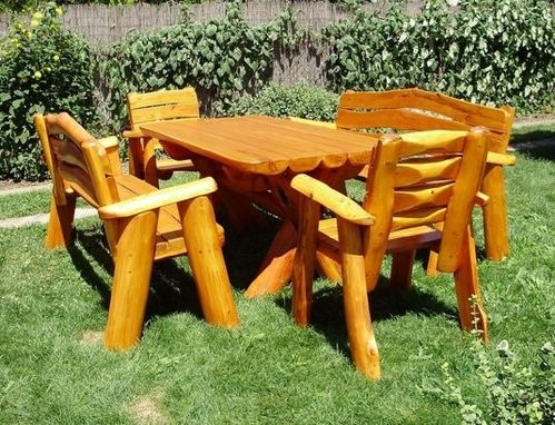Custom Made Picnic Table Set With Benches And Chairs