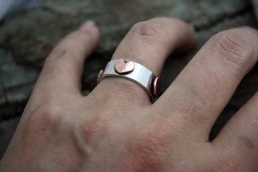 Custom Made Copper Hearts Sterling Silver Ring - Custom Engraving