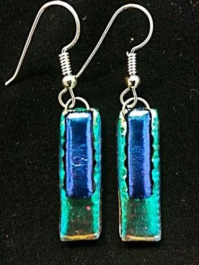 Custom Made Long Dichroic Glass Earrings