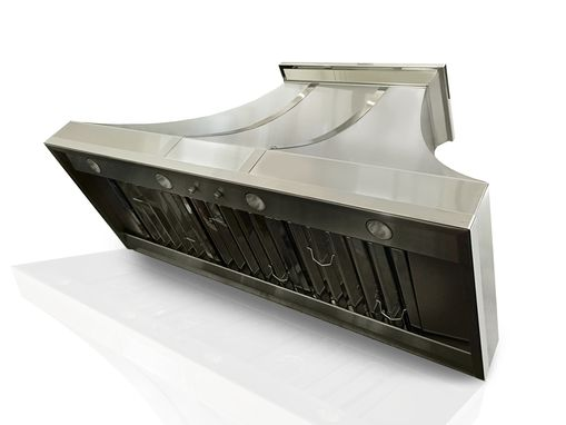 Custom Made #83 Brushed Stainless Steel Custom Range Hood With Mirrored Accents