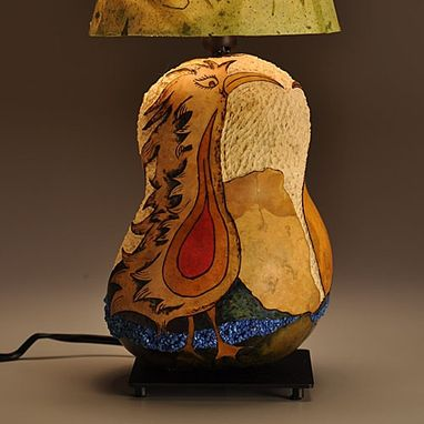 Custom Made Gourd Lamp Love Bird Design