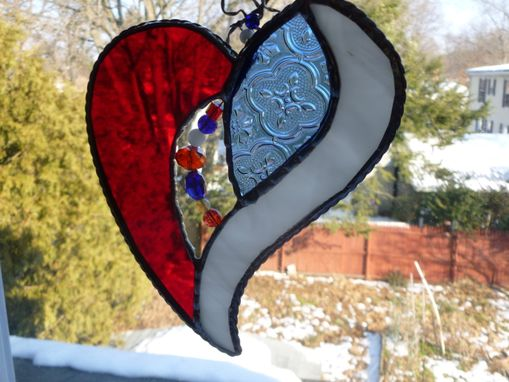 Custom Made Blue And Red Iridescent Stained Glass Heart With Beads And Crystals