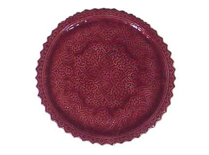 Custom Made Ceramic Lace Plate - Ruby Red